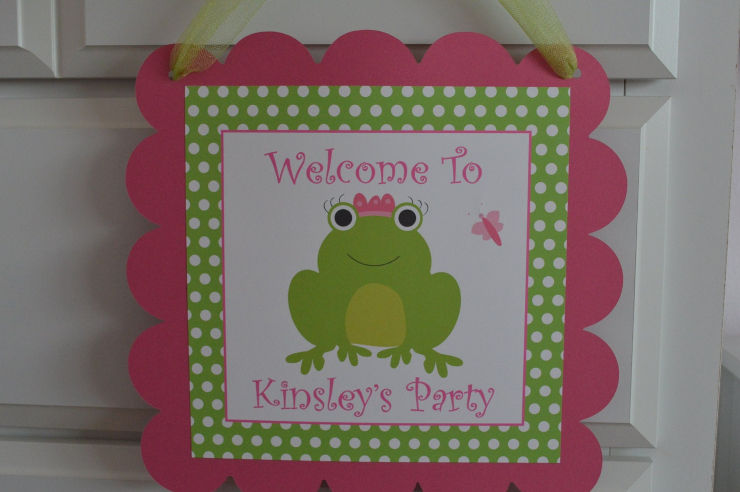 Frog theme door sign pink and green frog birthday sign request a custom order and have something made just for you jeuxipadfo Images