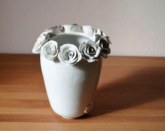 Tall stoneware vase in white with roses-  Handmade Ceramics  - Stoneware -