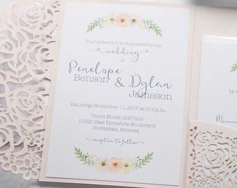 Floral Wedding Invitation | Laser Cut Pocketfolder | Romantic Wedding Invitation | White & Blush Pink | Watercolor Flower | PENELOPE Sample