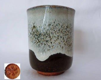 VJ822:Karatsu Yunomi tea cup,Hosen (Korean) Karatsu Yunomi,Karatsu-yaki Studio pottery,ARTIST'S Work,marked,Hand made in Japan