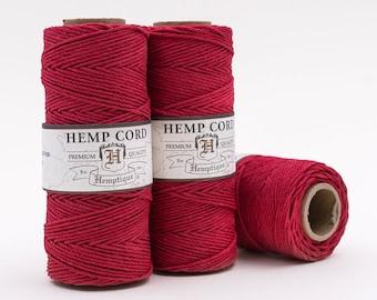 Red Hemp Cord, 1mm  205 Feet,  Red Hemp Twine, Macrame Cord, Colored Hemp Twine -T1