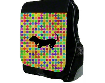 Dachshund Silhouette on Polka Dots  - Backpack and Pencil Bag Set