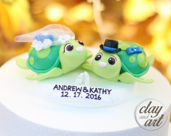 Turtle cake topper | Etsy