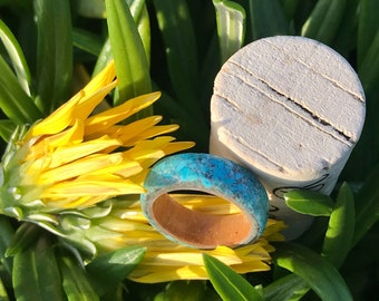 Bentwood Maple Ring With Turquoise OverLay
