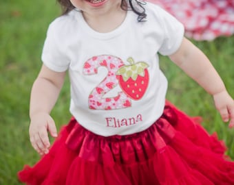 Girls First Birthday Outfit - First Birthday Shirt - Strawberry Birthday Shirt - Girls Strawberry Shirt