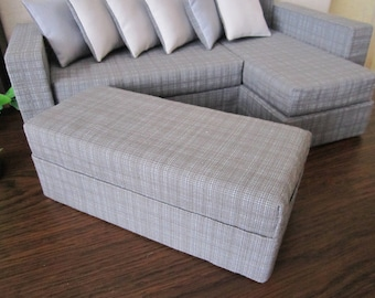 Designer Quality Gray Angle BARBIE SOFA + big additional part- Pouf. Set of 8. The best gift for your Doll !