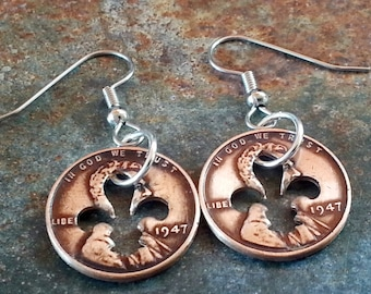 71st Birthday 1947 Penny Fleur de lis Earrings 71st Anniversary 71st Birthday Gift Coin Jewelry made from a 1947 Penny