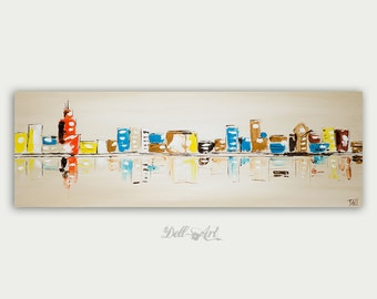 Original Colorful Chicago Skyline Painting, Modern Abstract Ar,t Cityscape, Fine Art, Home Decor