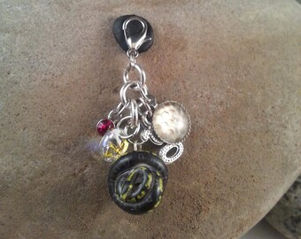 GHI Mojave Ball Python Charm Cluster, Royal Python charms, OOAK Polymer Clay Snake Theme Charm Cluster, Python regius Gift