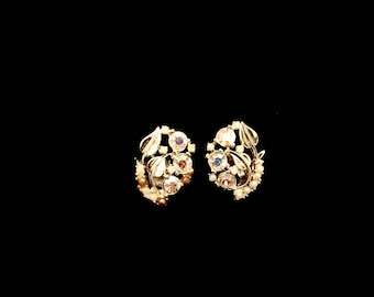 50s Aurora Borealis Rhinestone and Pearl Floral Earrings  LV0069
