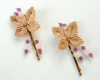 Hair bobby pins Flower girl Butterfly pins Wedding hair accessories Bridal hair pins Macrame hair accessories Set of two