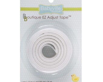 "EZ Adjust Hook and Loop Tape ~ 1 1/2"" wide ~ White ~ 2 piece set by Babyville Boutique ~ 100% Nylon ~ Makes quick & easy adjustable closure"