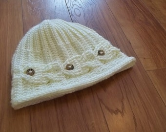 Crochet Pattern-Going Fishing Hat.  A beanie hat with fish swimming all around the brim.