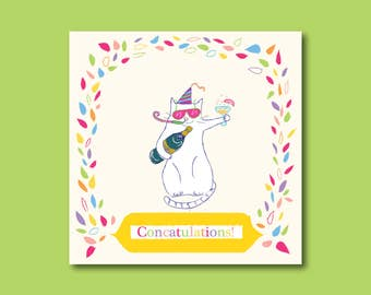 Funny cat Congratulations Card
