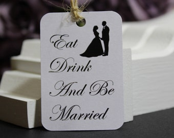 Eat Drink and Be Married, Food and Drink Wedding Favour Gift Tags, Mr & Mrs, Vintage Luggage Swing Ticket Shape, TGS25