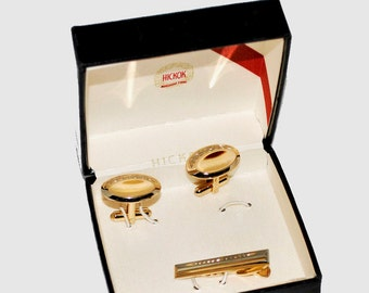 Vintage 1950's Signed Hickok Men's Embossed Gold Cufflink and Tie Clasp Set Cuff Links and Tie Bar in Original Box