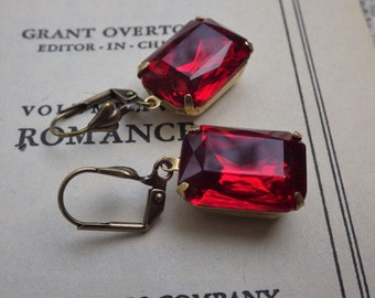 Ruby Rhinestone Earrings ~  Octagon ~ Art Deco ~ Vintage Glass ~ by LadyofTheLakeJewels
