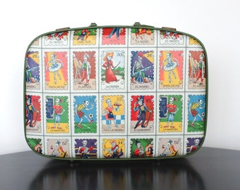 Upcycled Vintage Suitcase Decoupaged with Cartas Marcadas Fabric