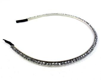Headband beaded simple - silver