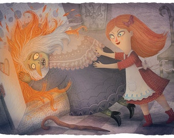 Gretel and the Witch - Art print