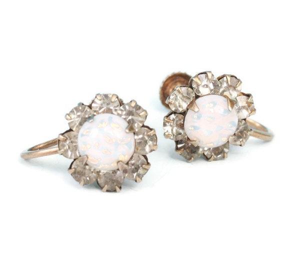 Glass Opal and Rhinestone Earrings Screw Backs Sterling 1940s 1950s
