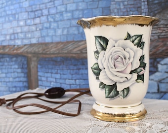 Cottage Chic Vintage TV Lamp Pottery with White Rose Gold trim Vase Works Planter Night light