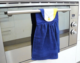 Hanging Hand Towel -blue yellow and white football inspired West Coast Eagles inspired gift