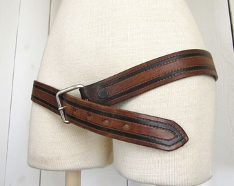 90s Leather Belt Honey Brown Black Striped Tooled Leather Belt Stonehedge Size 38
