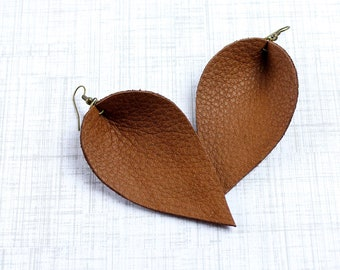 Brown Leather Leaf Earrings - Genuine Leather Earrings that are Joanna Gaines Inspired - in Cinnamon Brown Leather