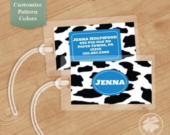 Cow Print Luggage Tag, Bag Tag, Backpack Tag, ID Tags, Personalized, Custom