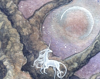 "Limited Edition Archival ACEO Print ""Unicorn Moon"" unicorn nature forest dark fantasy art"