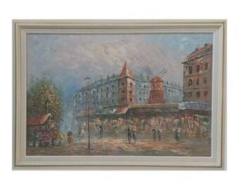 Vintage Caroline Burnett Signed Paris Moulin Rouge Street Scene Framed Oil Painting