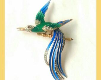 Vintage Crown Trifari Enamel Brooch of Birds of Paradise Jewelry (197)