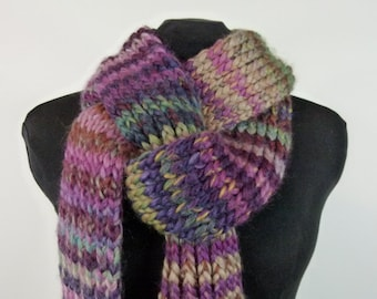 Long Chunky Hand Knit Scarf, Ribbed Knit Scarf in Soft and Warm Multicolor Yarn - Item 1435