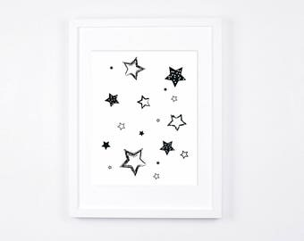 Black and White Nursery Art Printable, Stars Art, Modern Wall Art, Monochrome Nursery Digital Print, Scandinavian Baby Room Decor