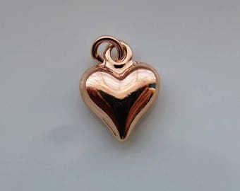Charms etsy uk rose gold heart charm 1 or 5 pieces rose gold plated charm findings mozeypictures Image collections