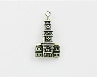 Sterling Silver 3-D Independence Hall Charm