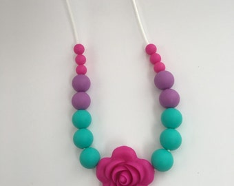 Teething Necklace,Silicone Flower Chewelry, Nursing Necklace, New Mom Gift, Chew Beads, Kids Sensory Necklace, Silicone Beads, Bite Beads