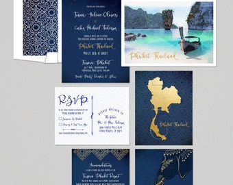 Thailand Phuket Asia Destination wedding invitation Thai Wedding Blue Gold bilingual illustrated wedding invitation Deposit Payment