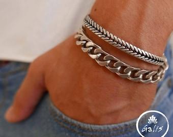 Men's Bracelet Set - Men's Chain Bracelet - Men's Silver Bracelet - Men's Cuff Bracelet - Men's Jewelry - Men's Gift - Present For Men