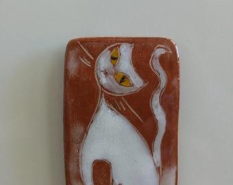 Fridge Magnet ceramic cat