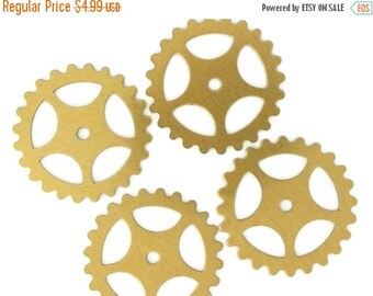50off Steampunk Large Gears in Golden Raw Brass 25mm Qty 4 Lot Assemblage Altered Art Made in the USA
