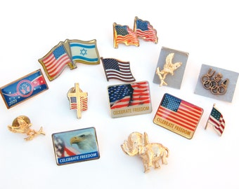 Vintage American Flag lapel pins 14 pc Celebrate Freedom Bald Eagle USA Olympics Gold Elephant brooch Veterans political jewelry Flag Cross