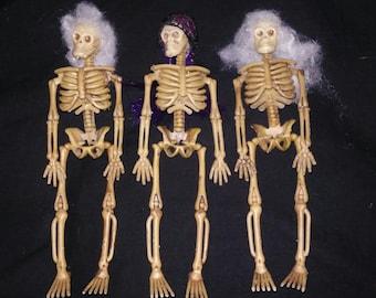 Set of3 ooak dollhouse miniature skeletons