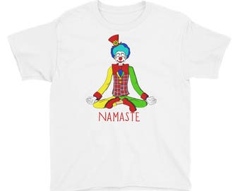 Halloween Clown Joker Yoga Namaste Youth Short Sleeve T-Shirt