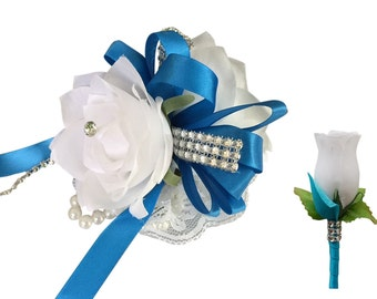 2pc Set - Wrist Corsage and Boutonniere: White with Turquoise/Malibu Ribbon (BCSET-14)