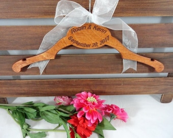 Wedding Dress Hanger - Handmade Engraved Personalized Bride Hangers - Wedding Photo Props - Coat Hangers - Wooden Coat Hanger - Mrs Hanger