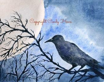 Digital art, raven, crow, blackbird, full moon, raven art, digital download