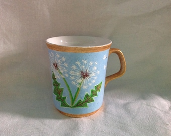 Vintage J&C Meakin mug upcycled with hand painted dandelion puffs