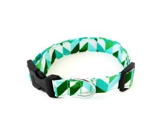 Green and blue dog collar, green herringbone collar, holiday dog cat collar, christmas collar, chevron collar